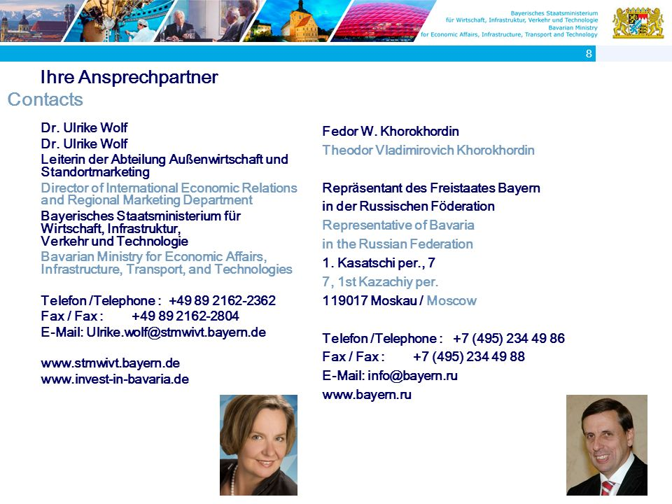 Ihre Ansprechpartner Contacts Dr.