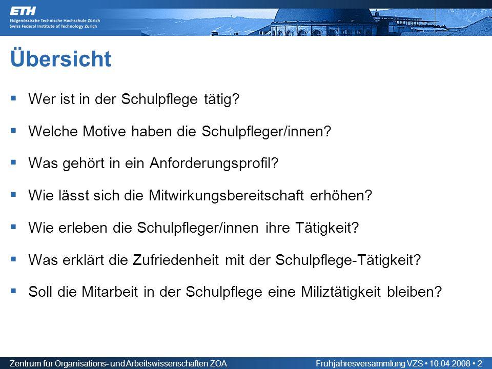 Zentrum für Organisations- und Arbeitswissenschaften ZOAFrühjahresversammlung VZS 10.04.2008 2 Übersicht Wer ist in der Schulpflege tätig.