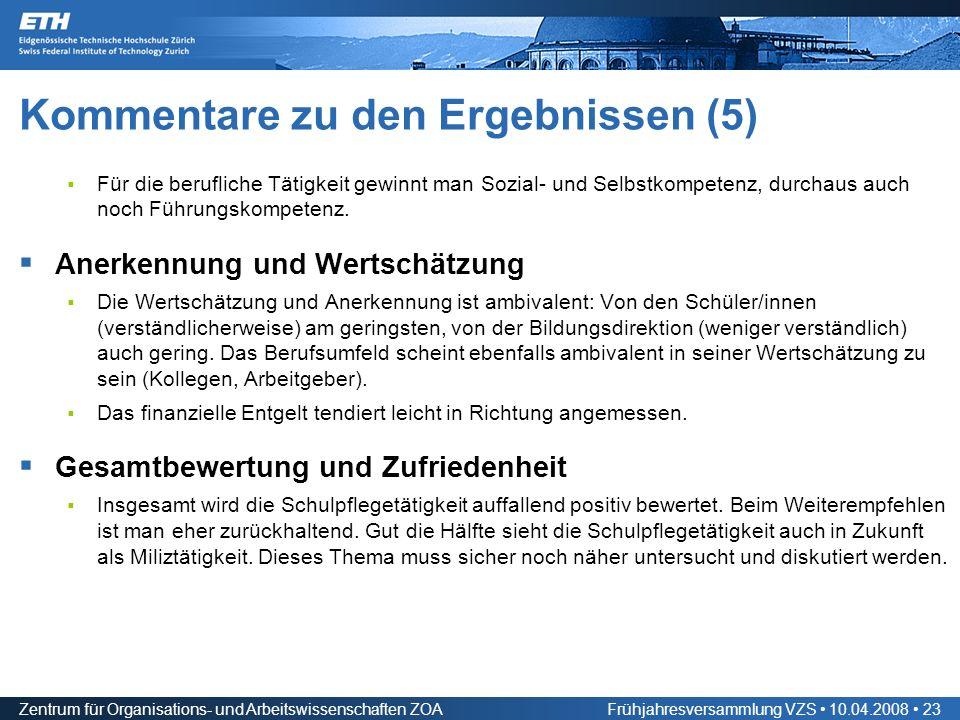 Zentrum für Organisations- und Arbeitswissenschaften ZOAFrühjahresversammlung VZS 10.04.2008 23 Kommentare zu den Ergebnissen (5) Für die berufliche Tätigkeit gewinnt man Sozial- und Selbstkompetenz, durchaus auch noch Führungskompetenz.