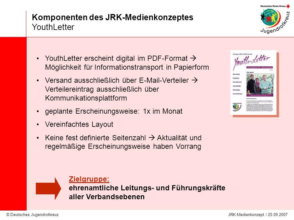 © Deutsches Jugendrotkreuz JRK-Medienkonzept / 25.09.2007 Komponenten des JRK-Medienkonzeptes YouthLetter YouthLetter erscheint digital im PDF-Format