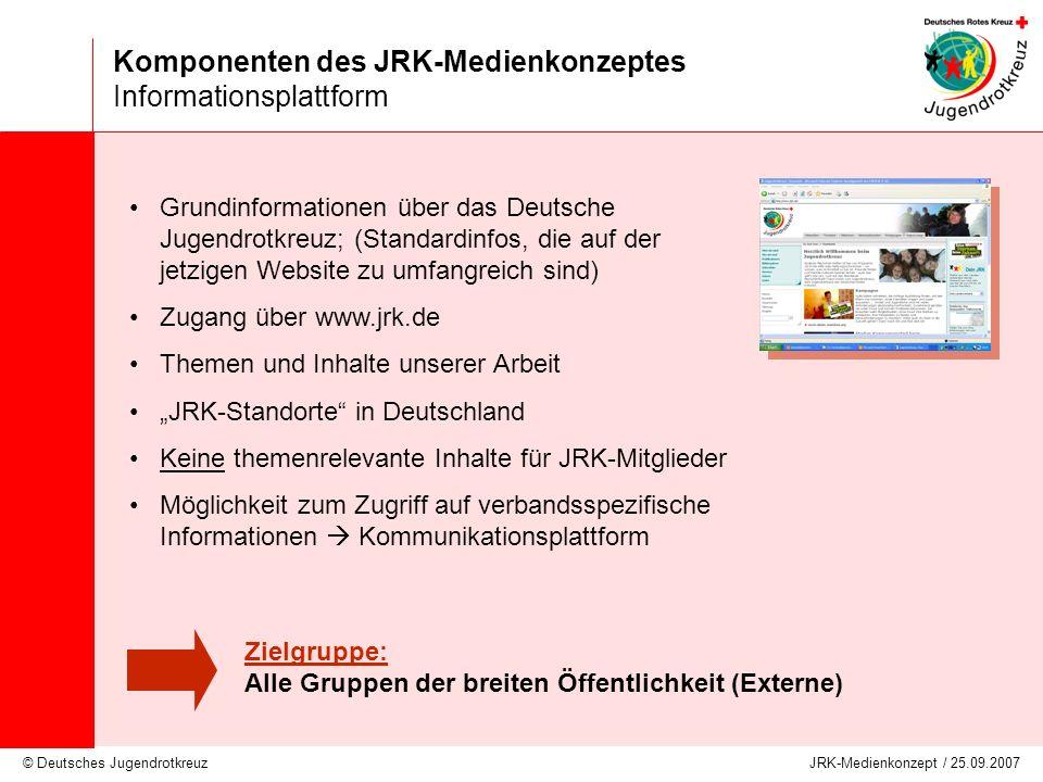 © Deutsches Jugendrotkreuz JRK-Medienkonzept / 25.09.2007 Komponenten des JRK-Medienkonzeptes Informationsplattform Grundinformationen über das Deutsc