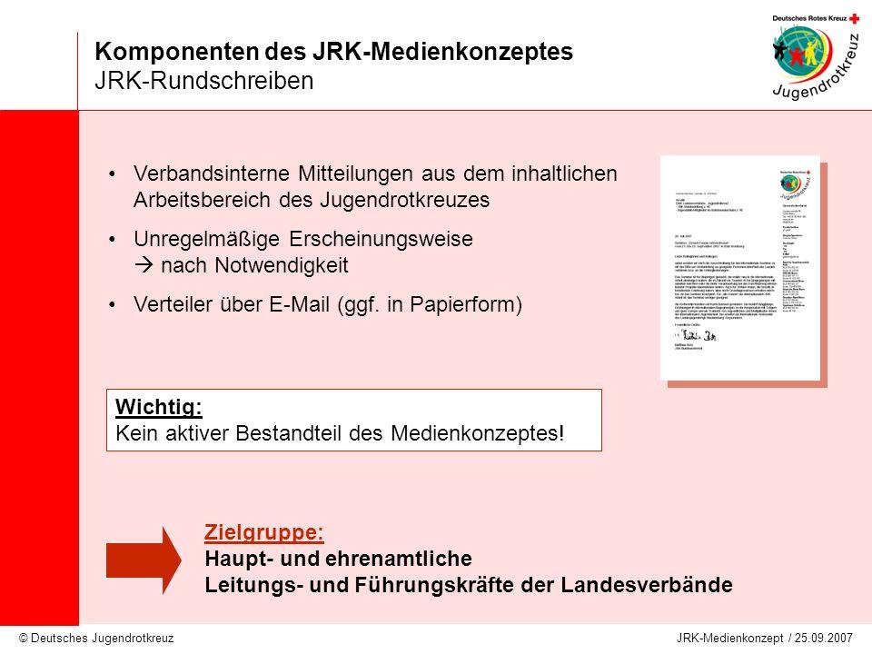 © Deutsches Jugendrotkreuz JRK-Medienkonzept / 25.09.2007 Komponenten des JRK-Medienkonzeptes JRK-Rundschreiben Verbandsinterne Mitteilungen aus dem i