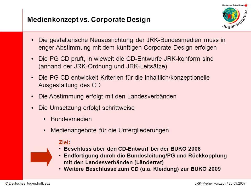 © Deutsches Jugendrotkreuz JRK-Medienkonzept / 25.09.2007 Medienkonzept vs. Corporate Design Die gestalterische Neuausrichtung der JRK-Bundesmedien mu