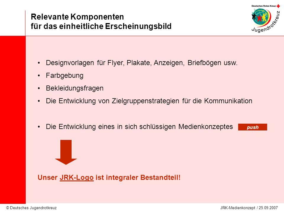 © Deutsches Jugendrotkreuz JRK-Medienkonzept / 25.09.2007 Relevante Komponenten für das einheitliche Erscheinungsbild Designvorlagen für Flyer, Plakat