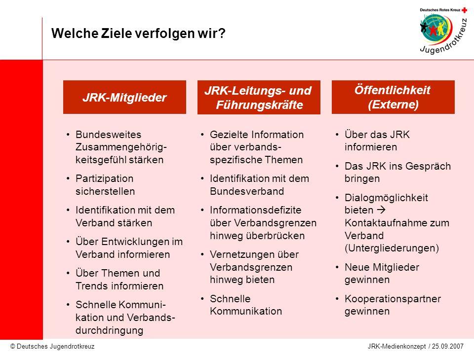 © Deutsches Jugendrotkreuz JRK-Medienkonzept / 25.09.2007 Welche Ziele verfolgen wir? JRK-Leitungs- und Führungskräfte JRK-Mitglieder Öffentlichkeit (