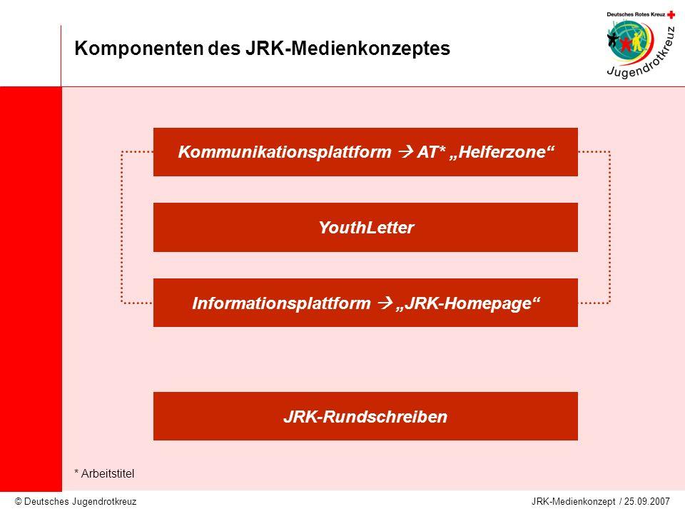 © Deutsches Jugendrotkreuz JRK-Medienkonzept / 25.09.2007 Komponenten des JRK-Medienkonzeptes Kommunikationsplattform Informations- und Kommunikationsquelle für Primärmitglieder wechselnder (lebender) redaktioneller Bereich JRK-(Mitglieder)Magazin; JRK-Community ähnlich www.jrk-vz.de ggf.