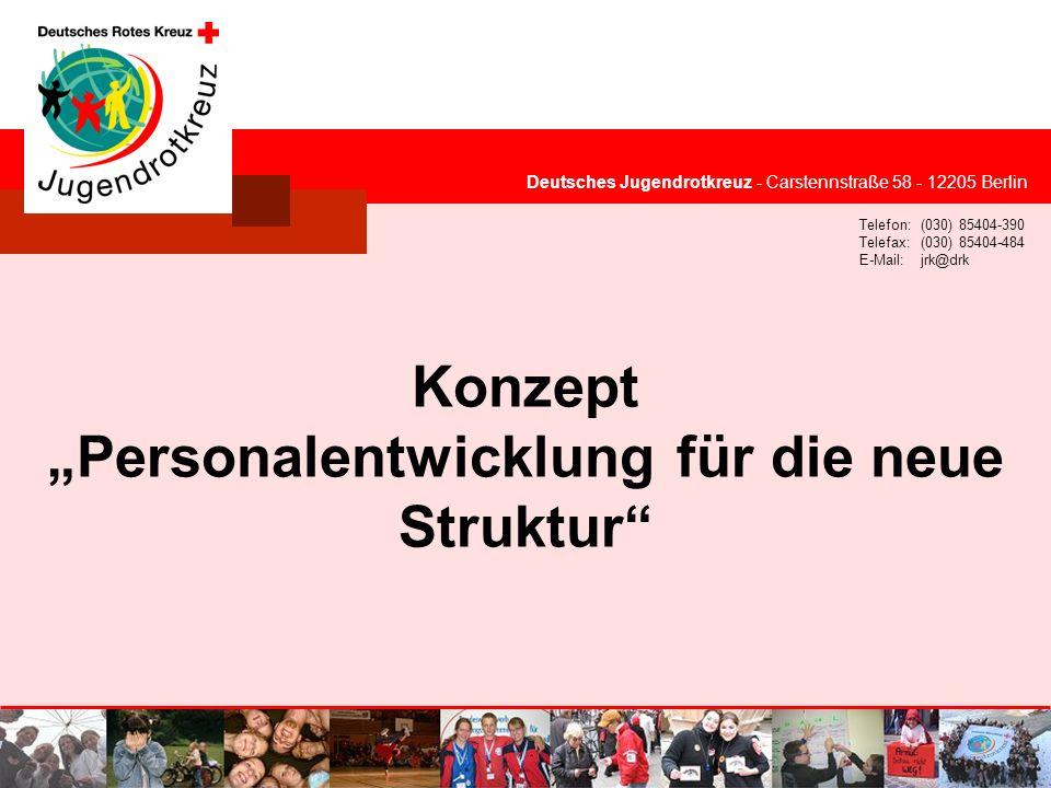 © Deutsches Jugendrotkreuz Deutsches Jugendrotkreuz - Carstennstraße 58 - 12205 Berlin Telefon:(030) 85404-390 Telefax:(030) 85404-484 E-Mail:jrk@drk Konzept Personalentwicklung für die neue Struktur