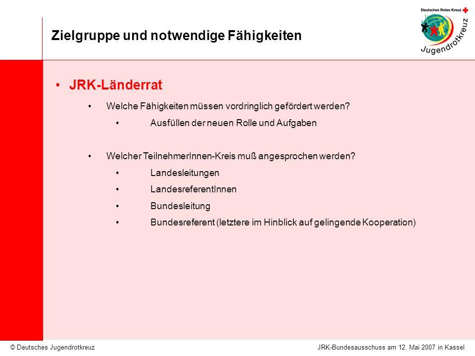 © Deutsches Jugendrotkreuz Zielgruppe und notwendige Fähigkeiten JRK-Bundesausschuss am 12.