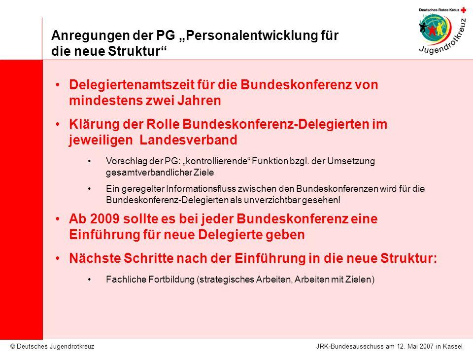 © Deutsches Jugendrotkreuz Anregungen der PG Personalentwicklung für die neue Struktur JRK-Bundesausschuss am 12.