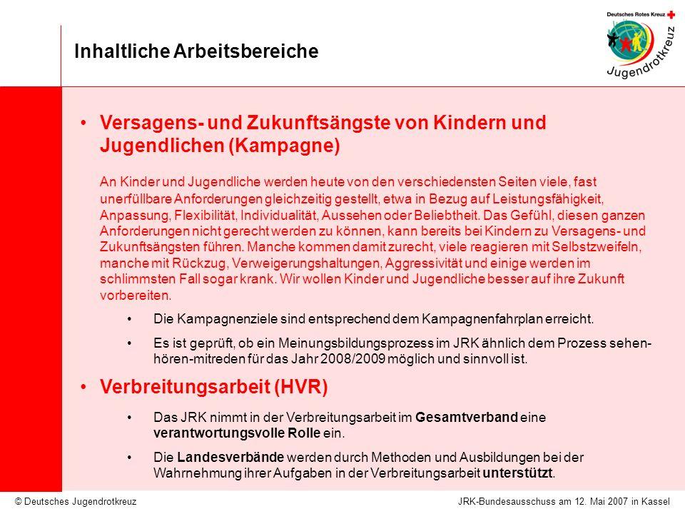 © Deutsches Jugendrotkreuz Inhaltliche Arbeitsbereiche JRK-Bundesausschuss am 12. Mai 2007 in Kassel Versagens- und Zukunftsängste von Kindern und Jug