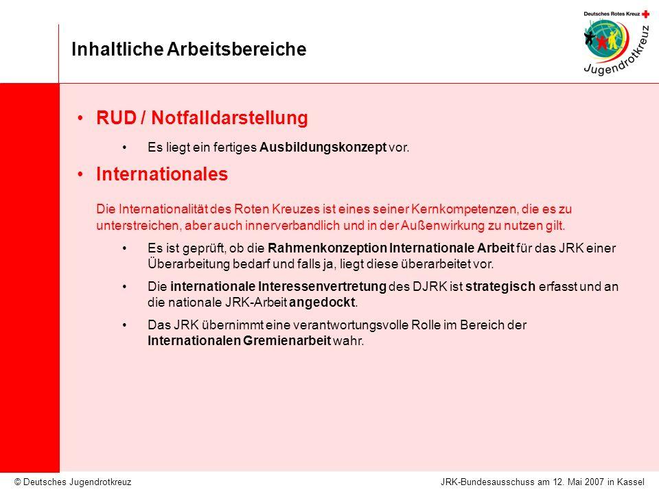 © Deutsches Jugendrotkreuz Inhaltliche Arbeitsbereiche JRK-Bundesausschuss am 12. Mai 2007 in Kassel RUD / Notfalldarstellung Es liegt ein fertiges Au