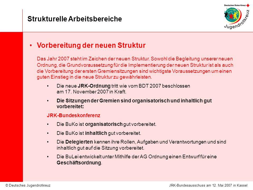 © Deutsches Jugendrotkreuz Strukturelle Arbeitsbereiche JRK-Bundesausschuss am 12. Mai 2007 in Kassel Vorbereitung der neuen Struktur Das Jahr 2007 st