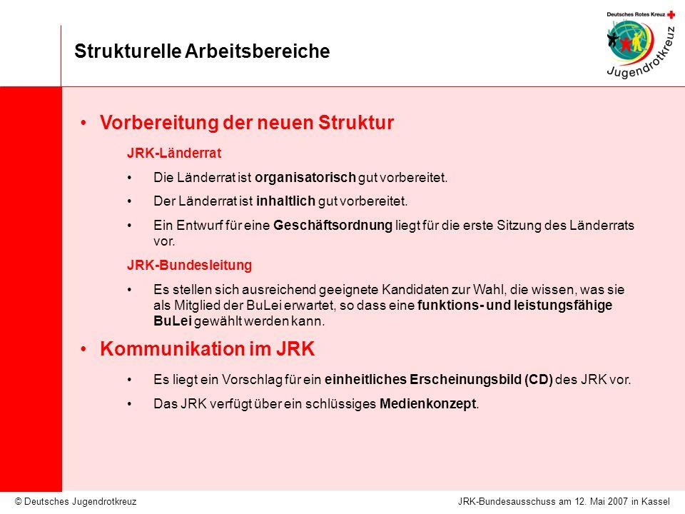 © Deutsches Jugendrotkreuz Strukturelle Arbeitsbereiche JRK-Bundesausschuss am 12. Mai 2007 in Kassel Vorbereitung der neuen Struktur JRK-Länderrat Di