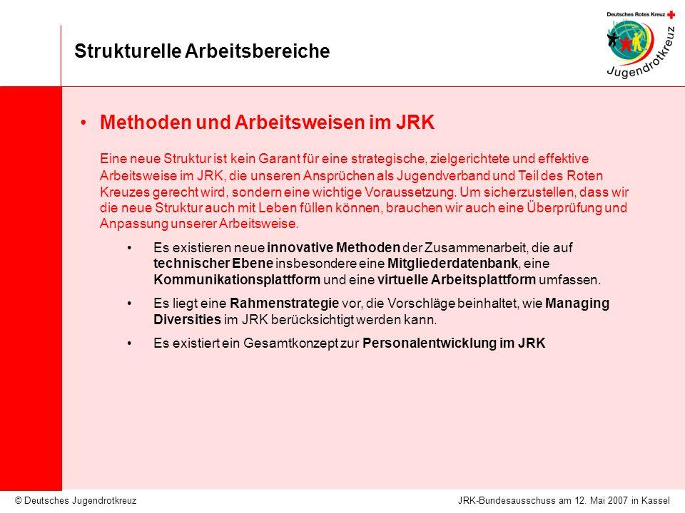 © Deutsches Jugendrotkreuz Strukturelle Arbeitsbereiche JRK-Bundesausschuss am 12. Mai 2007 in Kassel Methoden und Arbeitsweisen im JRK Eine neue Stru