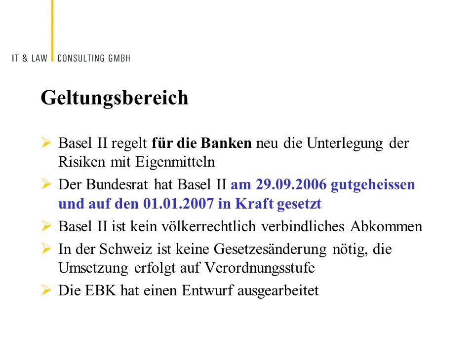 Geltungsbereich Basel II regelt für die Banken neu die Unterlegung der Risiken mit Eigenmitteln Der Bundesrat hat Basel II am 29.09.2006 gutgeheissen