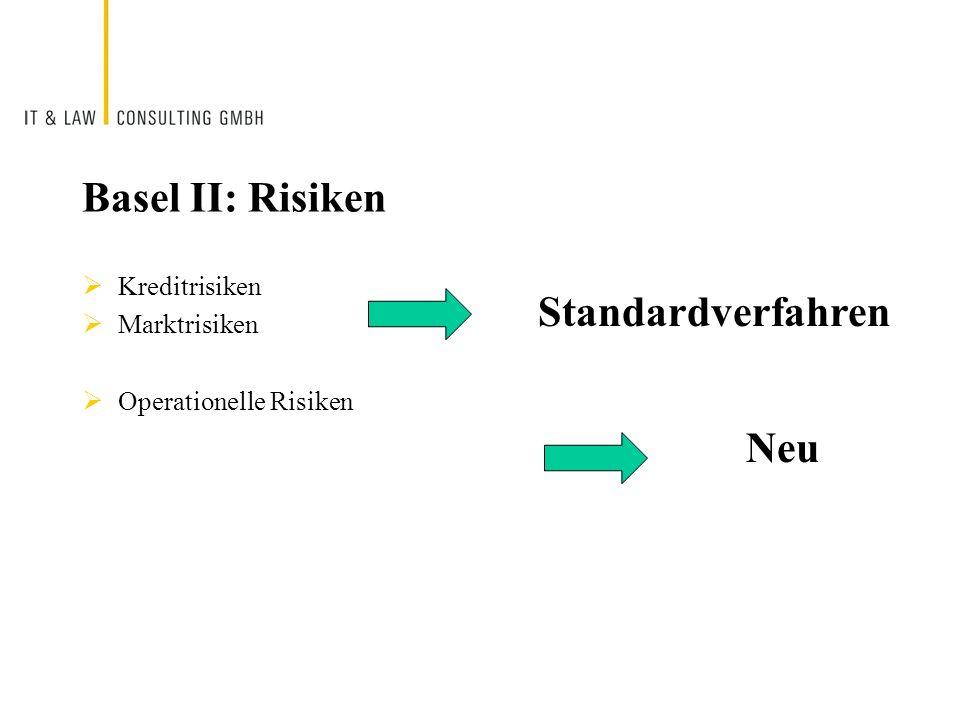Basel II: Risiken Kreditrisiken Marktrisiken Operationelle Risiken Standardverfahren Neu
