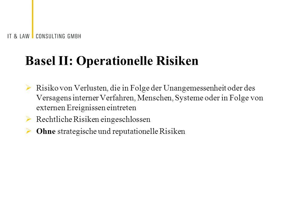 Basel II: Operationelle Risiken Risiko von Verlusten, die in Folge der Unangemessenheit oder des Versagens interner Verfahren, Menschen, Systeme oder