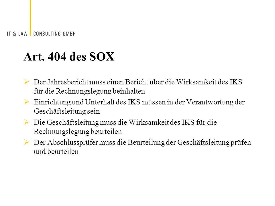 Art. 404 des SOX Der Jahresbericht muss einen Bericht über die Wirksamkeit des IKS für die Rechnungslegung beinhalten Einrichtung und Unterhalt des IK
