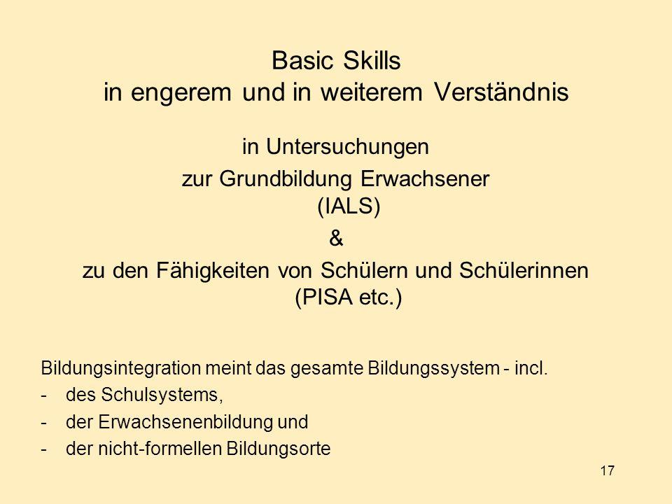 17 Basic Skills in engerem und in weiterem Verständnis in Untersuchungen zur Grundbildung Erwachsener (IALS) & zu den Fähigkeiten von Schülern und Schülerinnen (PISA etc.) Bildungsintegration meint das gesamte Bildungssystem - incl.
