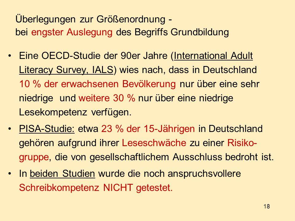 18 Überlegungen zur Größenordnung - bei engster Auslegung des Begriffs Grundbildung Eine OECD-Studie der 90er Jahre (International Adult Literacy Survey, IALS) wies nach, dass in Deutschland 10 % der erwachsenen Bevölkerung nur über eine sehr niedrige und weitere 30 % nur über eine niedrige Lesekompetenz verfügen.