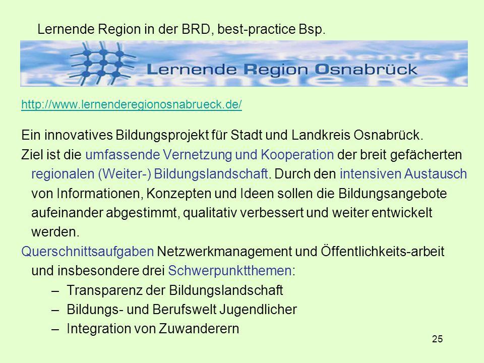 25 Lernende Region in der BRD, best-practice Bsp.