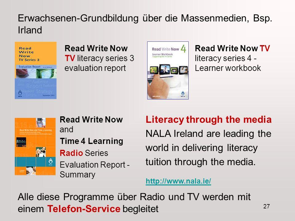 27 Erwachsenen-Grundbildung über die Massenmedien, Bsp.