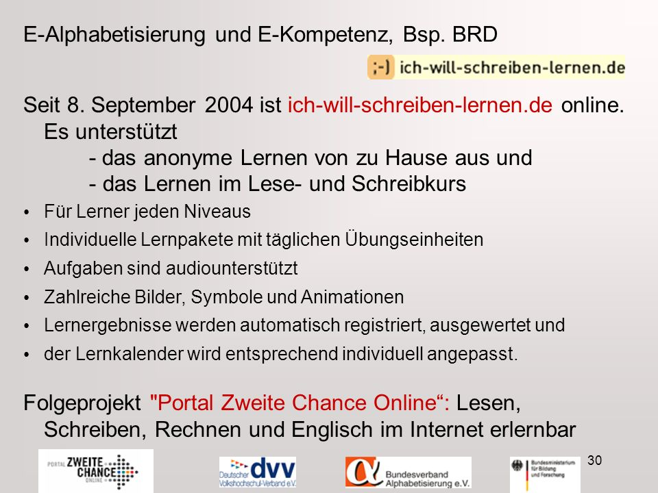 30 E-Alphabetisierung und E-Kompetenz, Bsp. BRD Seit 8.