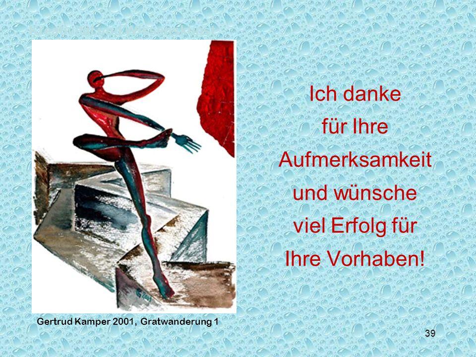 39 Kreativität und Wissenskunst Gertrud Kamper 2001, Gratwanderung 1 Ich danke für Ihre Aufmerksamkeit und wünsche viel Erfolg für Ihre Vorhaben!