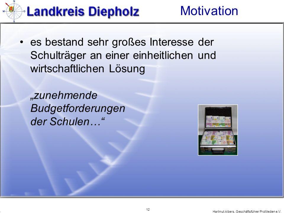 12 Hartmut Albers, Geschäftsführer ProMedien e.V. Motivation es bestand sehr großes Interesse der Schulträger an einer einheitlichen und wirtschaftlic