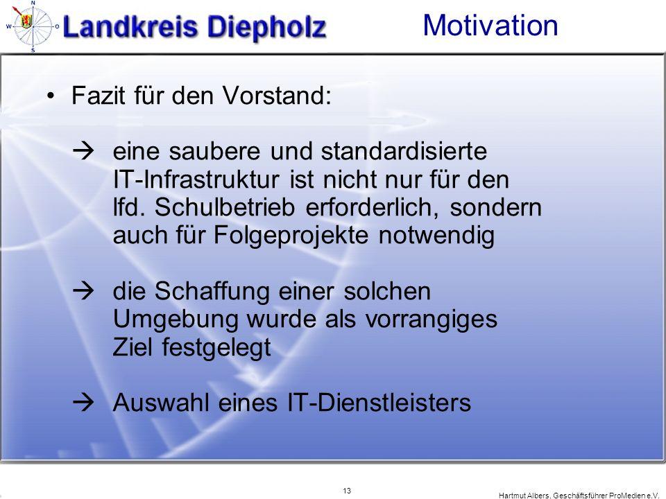 13 Hartmut Albers, Geschäftsführer ProMedien e.V. Motivation Fazit für den Vorstand: eine saubere und standardisierte IT-Infrastruktur ist nicht nur f