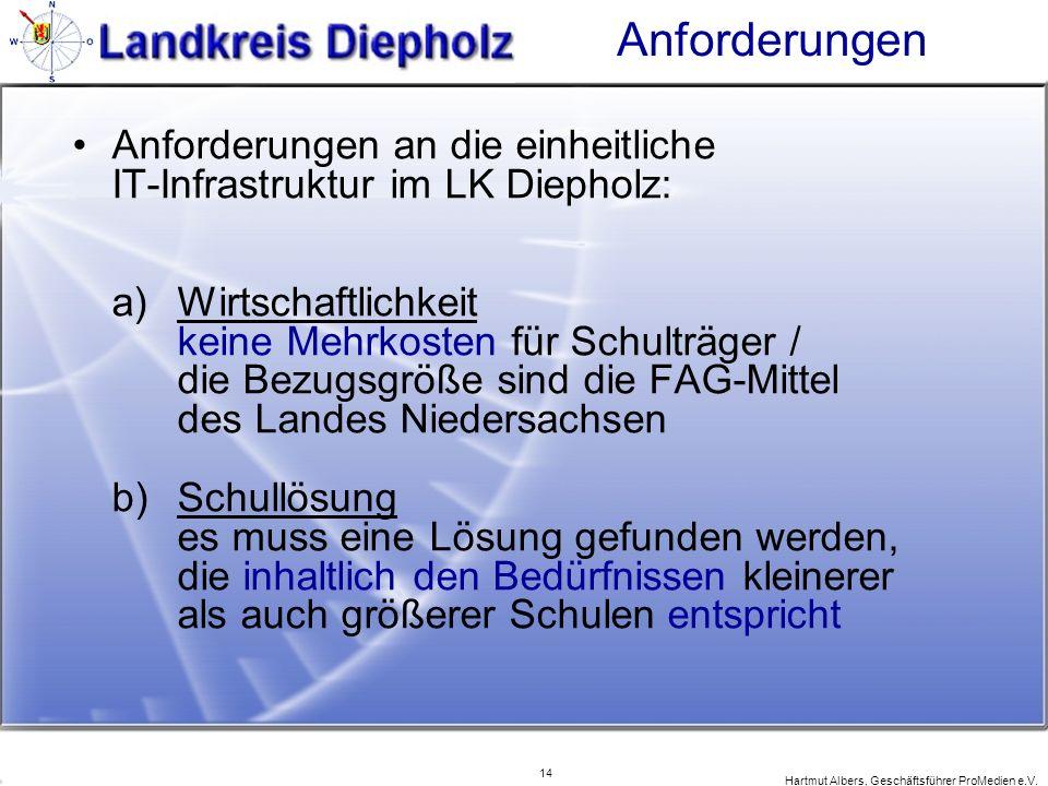 14 Hartmut Albers, Geschäftsführer ProMedien e.V. Anforderungen Anforderungen an die einheitliche IT-Infrastruktur im LK Diepholz: a) Wirtschaftlichke