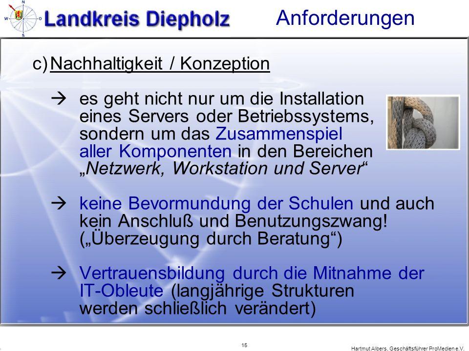 15 Hartmut Albers, Geschäftsführer ProMedien e.V. Anforderungen c)Nachhaltigkeit / Konzeption es geht nicht nur um die Installation eines Servers oder
