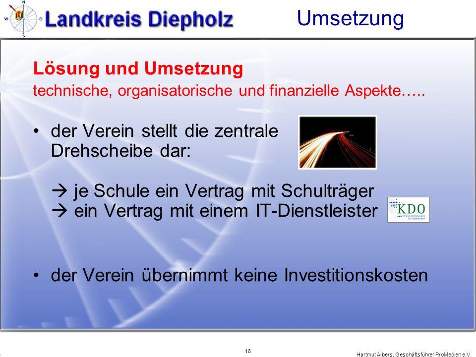 16 Hartmut Albers, Geschäftsführer ProMedien e.V. Umsetzung Lösung und Umsetzung technische, organisatorische und finanzielle Aspekte….. der Verein st