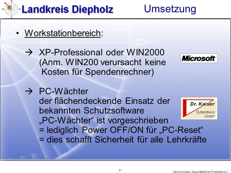 21 Hartmut Albers, Geschäftsführer ProMedien e.V. Umsetzung Workstationbereich: XP-Professional oder WIN2000 (Anm. WIN200 verursacht keine Kosten für