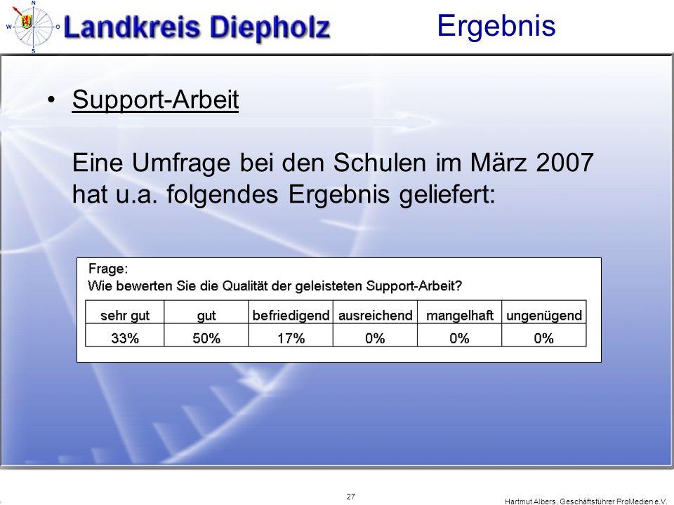 27 Hartmut Albers, Geschäftsführer ProMedien e.V. Ergebnis Support-Arbeit Eine Umfrage bei den Schulen im März 2007 hat u.a. folgendes Ergebnis gelief