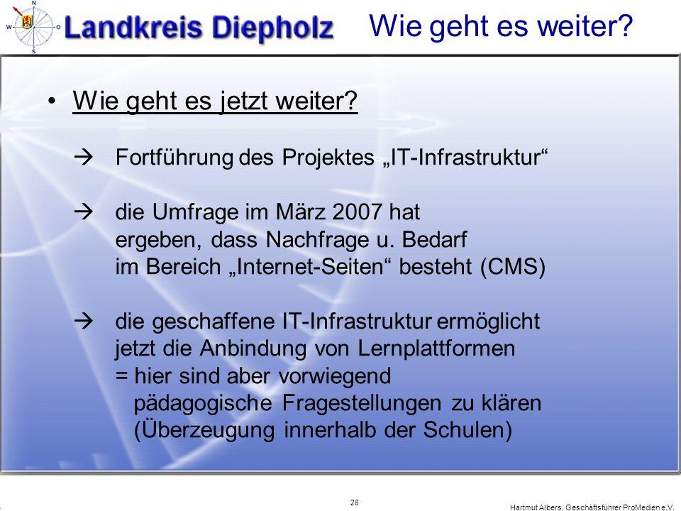 28 Hartmut Albers, Geschäftsführer ProMedien e.V. Wie geht es weiter? Wie geht es jetzt weiter? Fortführung des Projektes IT-Infrastruktur die Umfrage