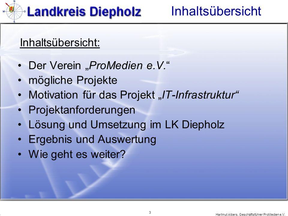 3 Hartmut Albers, Geschäftsführer ProMedien e.V. Inhaltsübersicht Der Verein ProMedien e.V. mögliche Projekte Motivation für das Projekt IT-Infrastruk