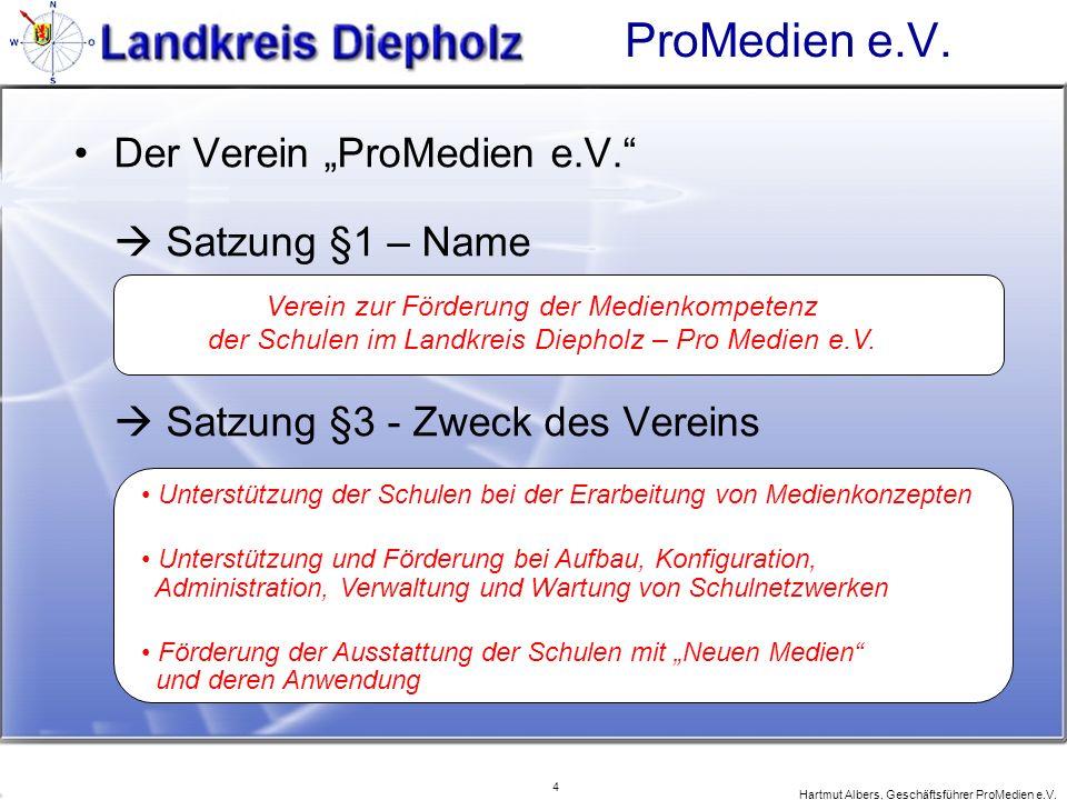 4 Hartmut Albers, Geschäftsführer ProMedien e.V. ProMedien e.V. Der Verein ProMedien e.V. Satzung §1 – Name Satzung §3 - Zweck des Vereins Verein zur