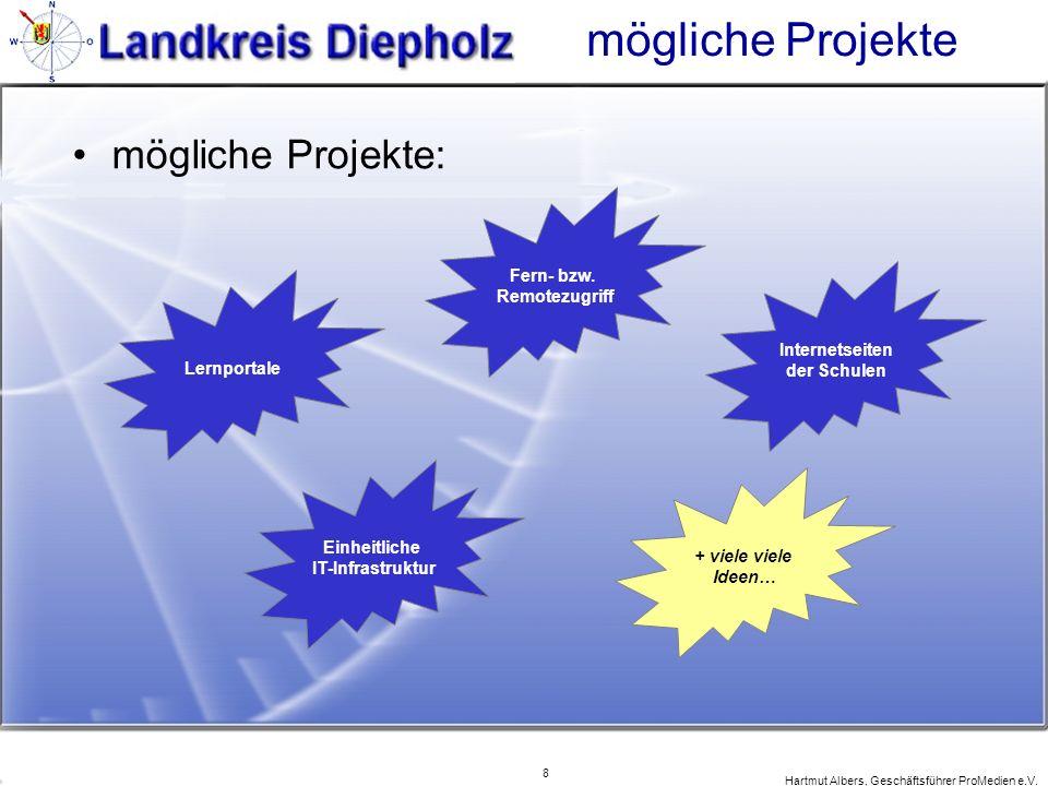 8 Hartmut Albers, Geschäftsführer ProMedien e.V. mögliche Projekte mögliche Projekte: Lernportale Einheitliche IT-Infrastruktur Fern- bzw. Remotezugri
