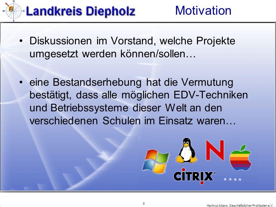 9 Hartmut Albers, Geschäftsführer ProMedien e.V. Motivation Diskussionen im Vorstand, welche Projekte umgesetzt werden können/sollen… eine Bestandserh
