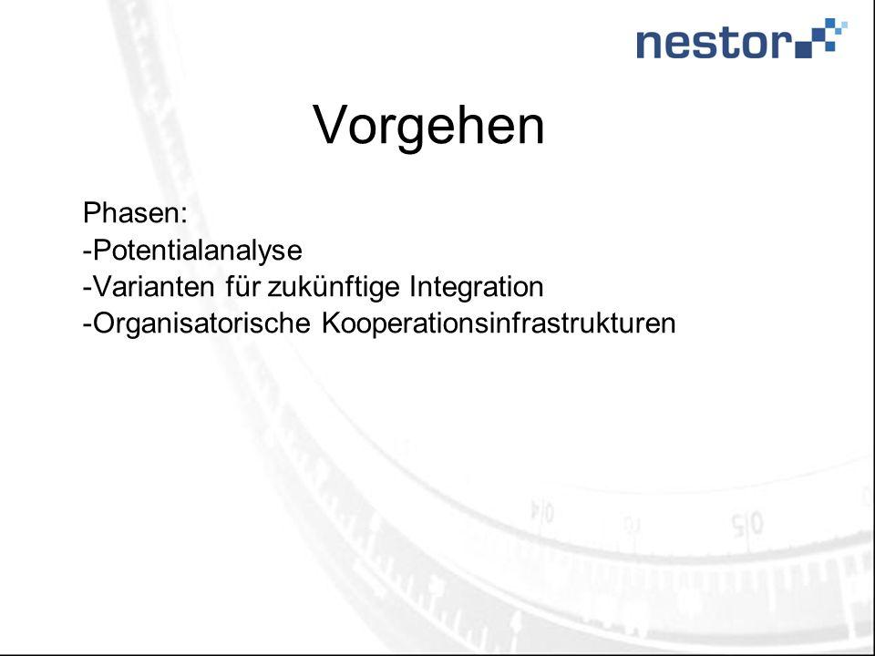 Vorgehen Phasen: -Potentialanalyse -Varianten für zukünftige Integration -Organisatorische Kooperationsinfrastrukturen