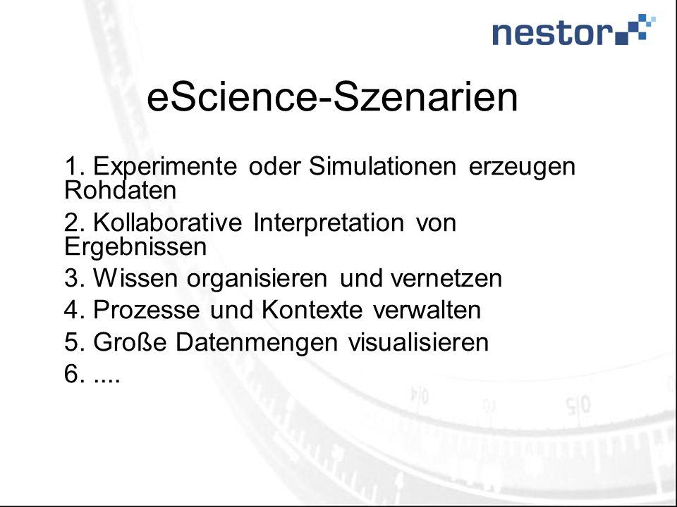 eScience-Szenarien 1. Experimente oder Simulationen erzeugen Rohdaten 2.