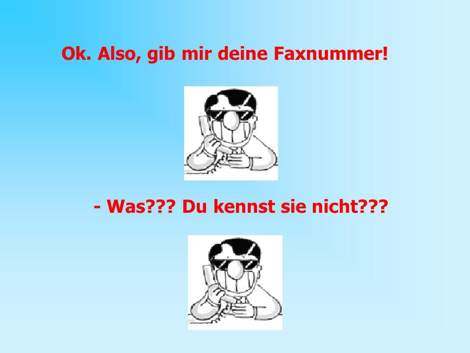 Ok. Also, gib mir deine Faxnummer! - Was??? Du kennst sie nicht???