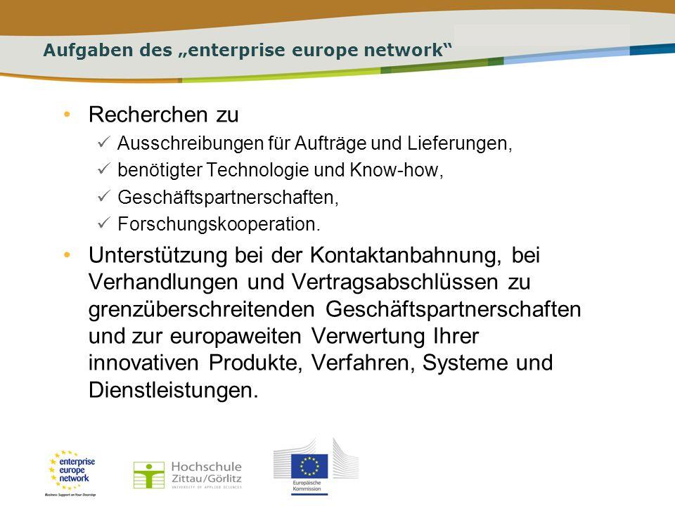 PLACE PARTNERS LOGO HERE Title of the presentation | Date | # Aufgaben des Enterprise Europe Network Hilfe bei der Antragstellung zu Europäischen Forschungsprojekten und Suchen nach geeigneten Kooperations- partnern bis hin zur Verwertung der Resultate.