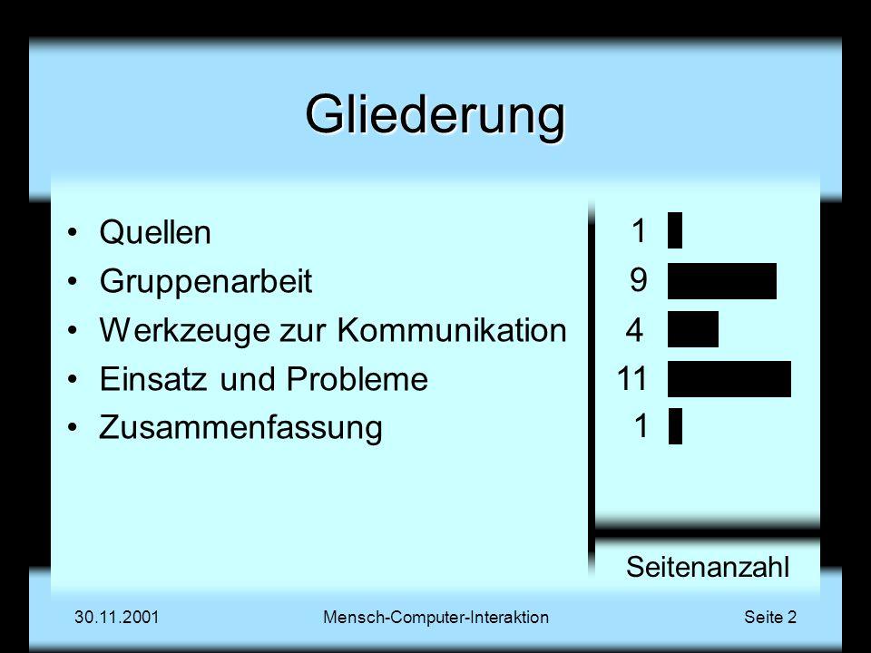 QuellenGruppenarbeitWerkzeugeEinsatzZusammenfassung 30.11.2001Mensch-Computer-InteraktionSeite 3 Quellen Distance Matters Gary M.