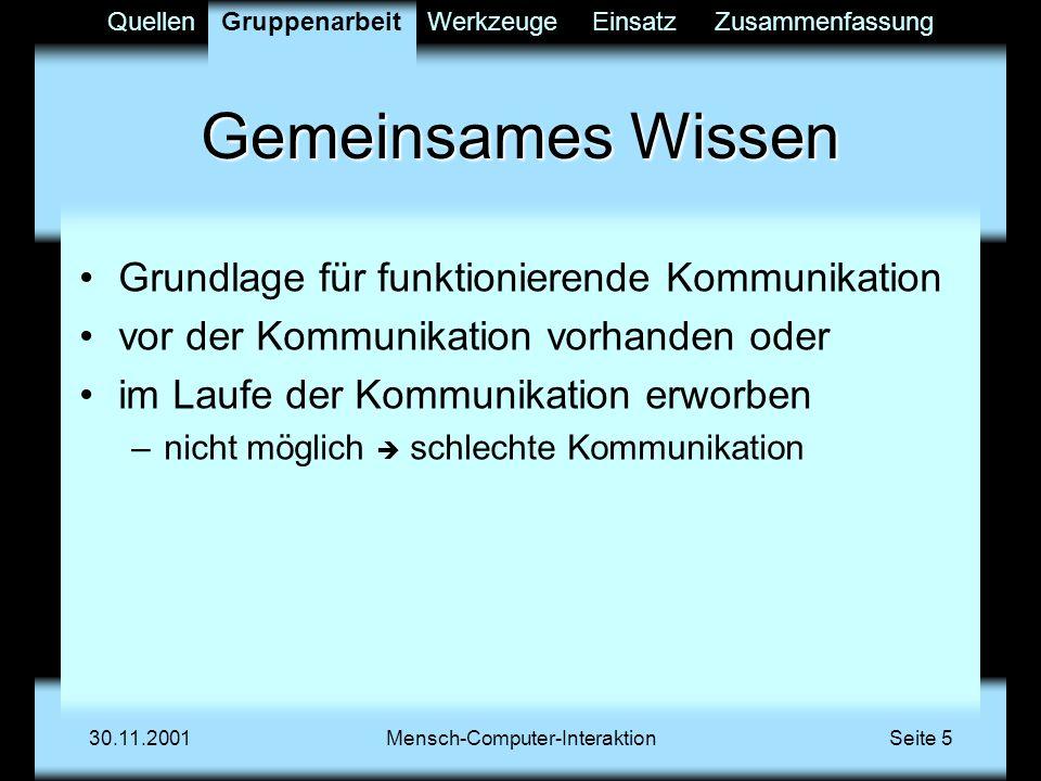 QuellenGruppenarbeitWerkzeugeEinsatzZusammenfassung 30.11.2001Mensch-Computer-InteraktionSeite 16 Mischformen Fax Protokollverwaltung der Treffen Kalenderverwaltung Werkzeuge