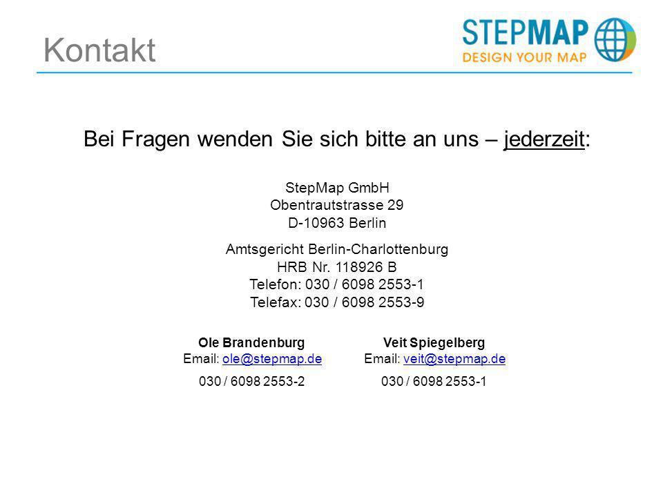 Kontakt Bei Fragen wenden Sie sich bitte an uns – jederzeit: StepMap GmbH Obentrautstrasse 29 D-10963 Berlin Amtsgericht Berlin-Charlottenburg HRB Nr.