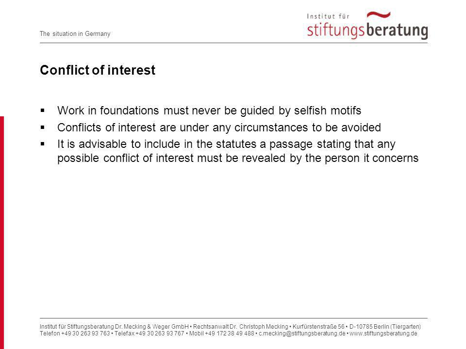 Institut für Stiftungsberatung Dr. Mecking & Weger GmbH Rechtsanwalt Dr. Christoph Mecking Kurfürstenstraße 56 D-10785 Berlin (Tiergarten) Telefon +49