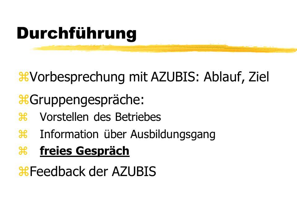 Durchführung zVorbesprechung mit AZUBIS: Ablauf, Ziel zGruppengespräche: z Vorstellen des Betriebes z Information über Ausbildungsgang z freies Gesprä