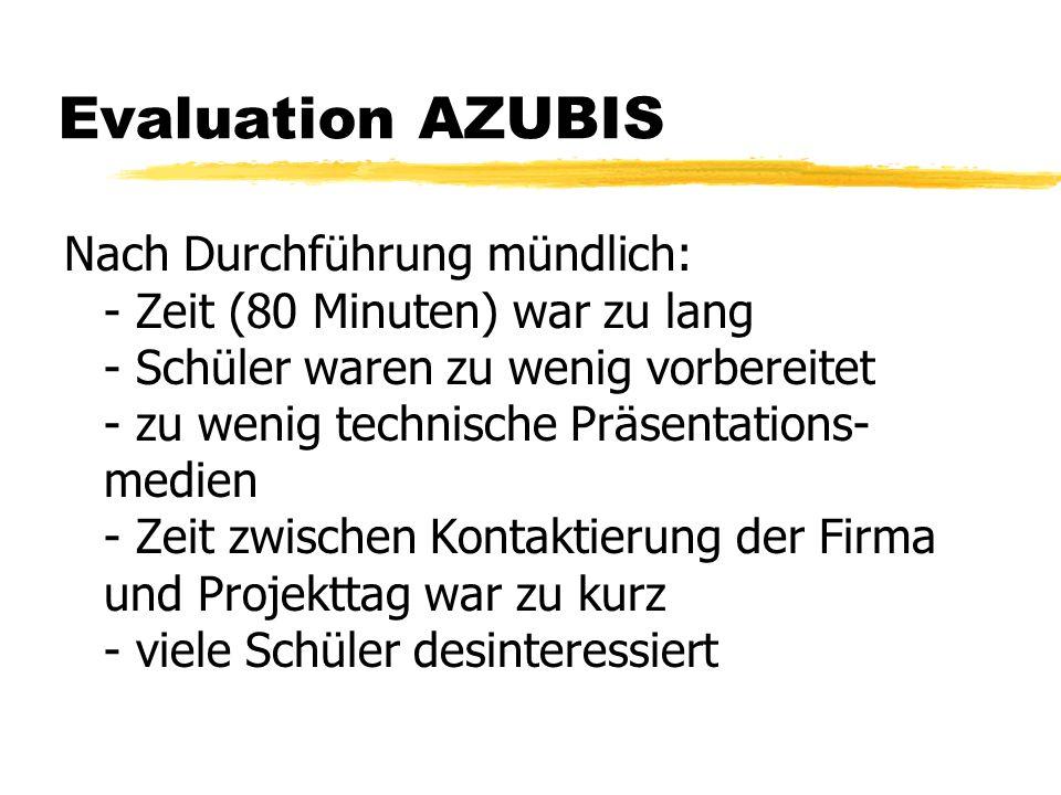 Evaluation AZUBIS Nach Durchführung mündlich: - Zeit (80 Minuten) war zu lang - Schüler waren zu wenig vorbereitet - zu wenig technische Präsentations
